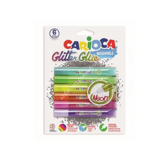 Carioca ragasztó Glitter 6 darabos Neon 42111