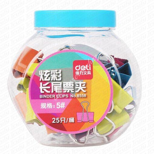Deli binder kapocs, színes 19 mm tégelyben 8558