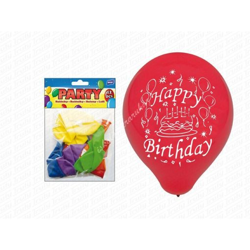 "Lufi 12 darabos 23 cm ""Happy Birthday"" mintával ""132"""
