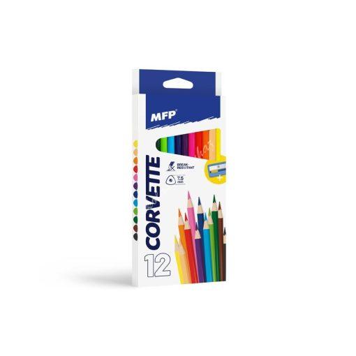 Színes ceruza 12-es MFP háromszög + hegyező 6330510