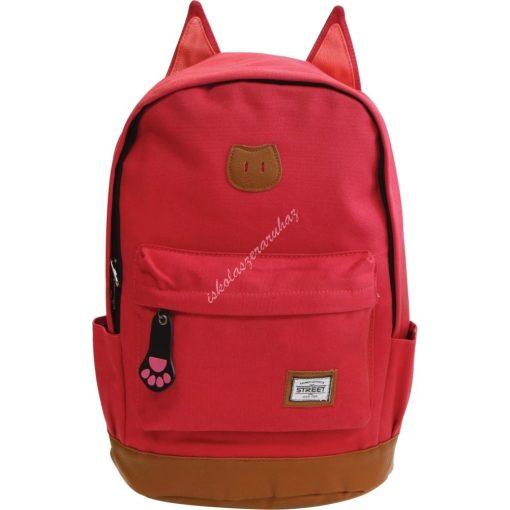 Hátizsák iskolatáska Street cicafüles piros 53368